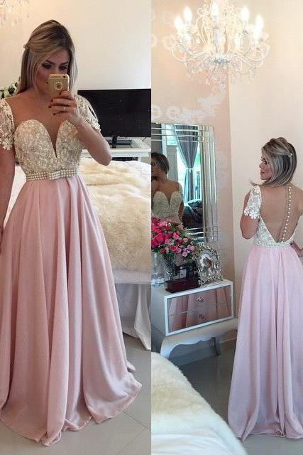 Sexy Prom Dress,Pink Backless Prom Dresses,Open Back Prom Gowns, Pink Prom Dresses 2018, Party Dresses 2018 ,Off-the-shoulder Prom Gowns,
