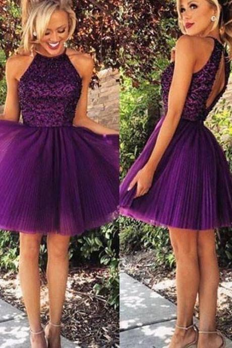 Cute A Line Purple Tulle Short Prom Dress, Homecoming Dress,Party Dress,Graduation Dress,A-Line Prom Dresses,Cheap Prom Dress