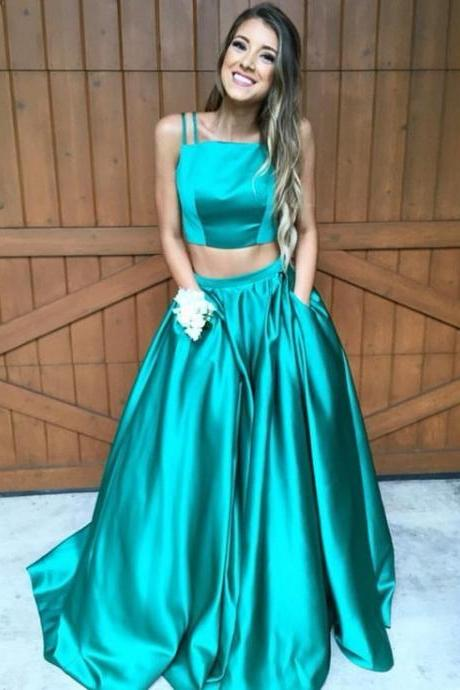 Glamorous Gorgeous A-line Two Piece Hunter Green Long Prom Dress Formal Evening Dress Elastic Woven Stain Prom Dresses